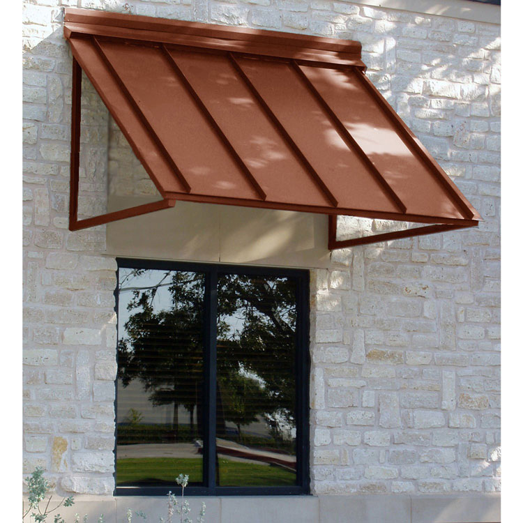 copper colored metal porch awning