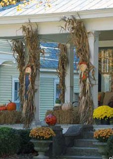 long cornstalks tied to porch columns