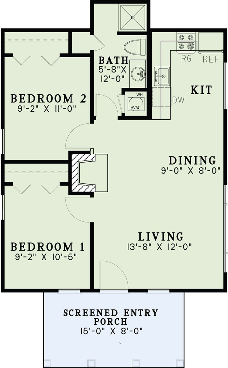 small cottage two bedroom floor plan