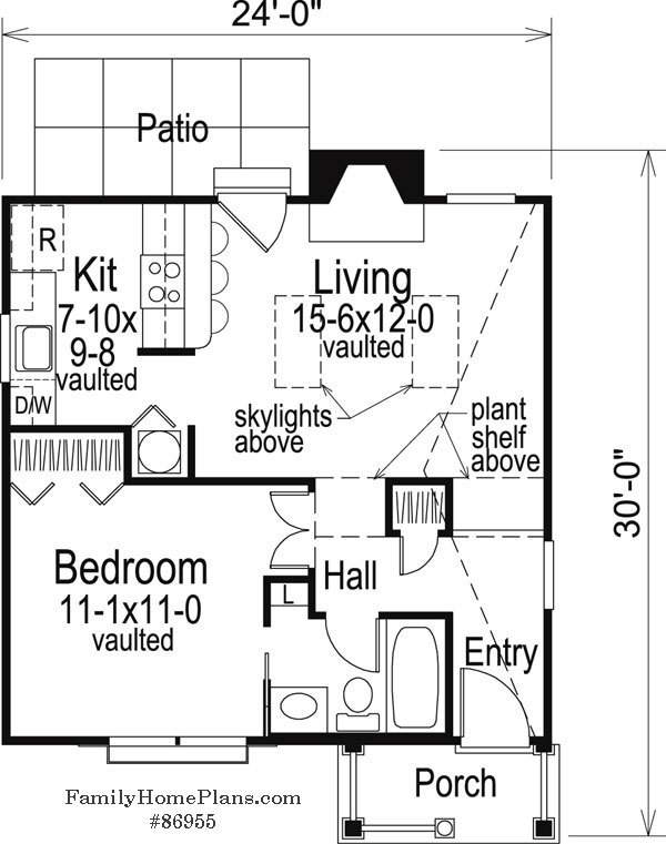 cottage floor plan with vaulted ceilings