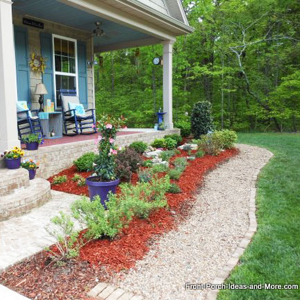 a diy walkway with pea gravel along cottage garden