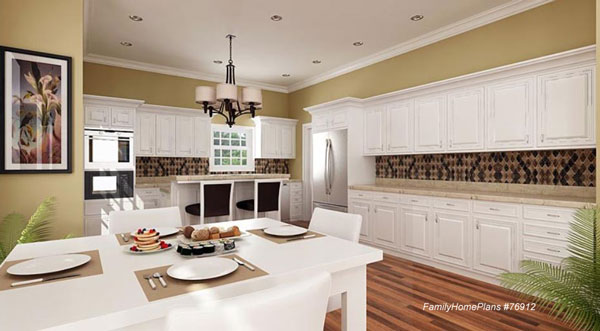 cottage kitchen home plan with wrap around front porch from Family Home Plans
