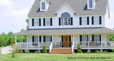 Large Country Farm House Wrap-Around Front Porch With Wheelchair Ramp