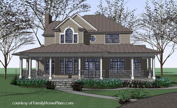 country home with wrap around front porch plan from familyhomeplans.com