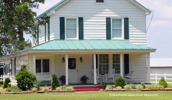 green metal roof over porch