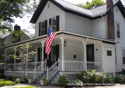 picturesque wrap around country style porch