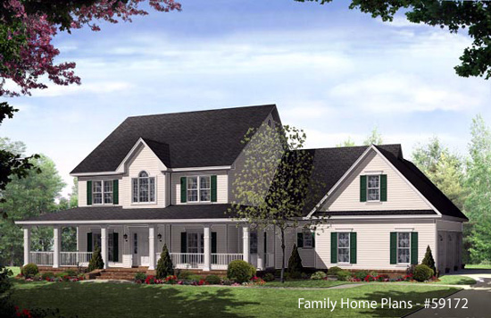 Country home designs country porch plans country style for 4 bedroom farmhouse plans