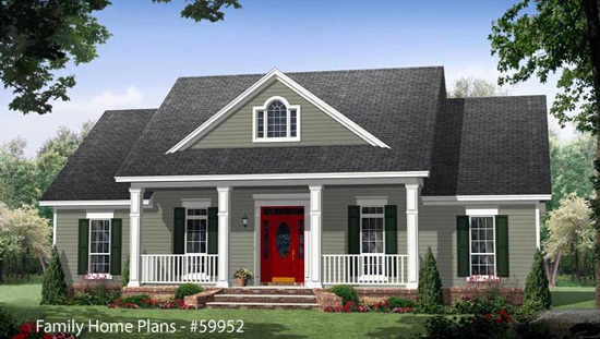 Country home designs country porch plans country style porches - One level house plans with basement paint ...