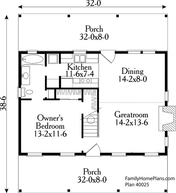 Small house floor plans small country house plans for Small cabin floor plans wrap around porch