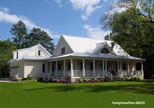 cabin home plan with front porch from Family Home Plans