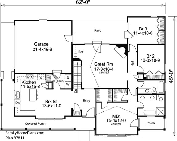 charming country house floor plan 87811 by family home plans - Country House Floor Plans