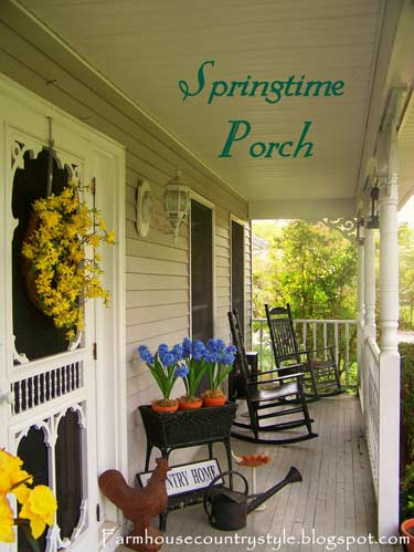 Country Farmhouse Front Porch With Rocking Chairs