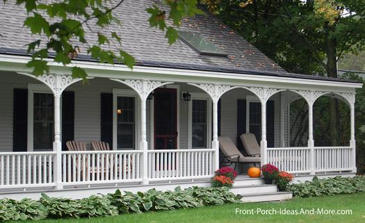 farmhouse porch with exterior house trim brackets