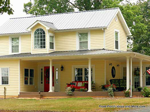 Country porches wrap around porches farm house for Modern homes with wrap around porches