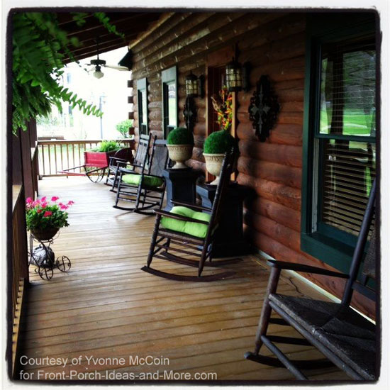 Log cabin country porch living