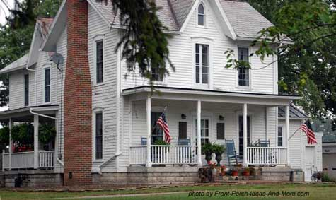 Classic American Farm House Front Porch
