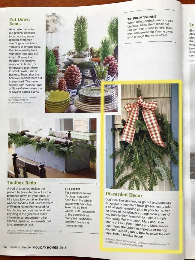 Country Sampler magazine article about our fresh greenery decoration
