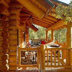 beautiful log home country porch style