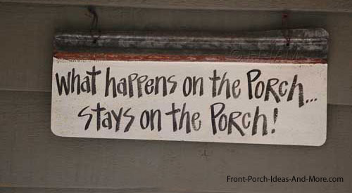 sign on front porch