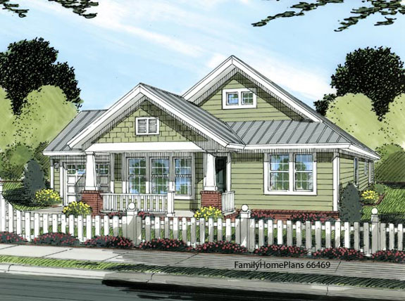 Bungalow style home with craftsman style front porch columns