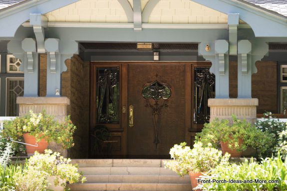 stylish craftsman porch columns and pedestals