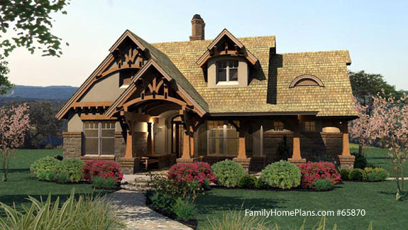 ideal Craftsman-style home design and front porch Family Home Plan # 65870