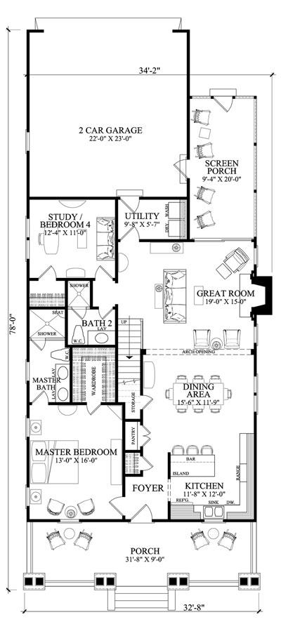 interior floor plan of craftsman home Family Home Plan # 86121