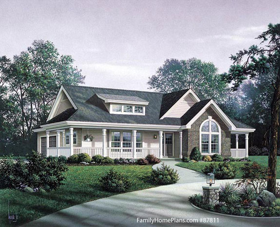 ideal Craftsman-style home design and front porch Family Home Plan # 87811