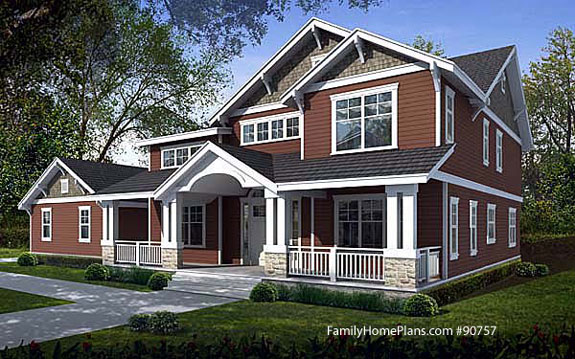 farmhouse craftsman home plan style Family Home Plan # 90757