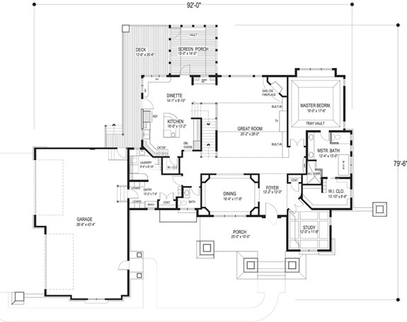 Craftsman home at night Family Home Plan #92351
