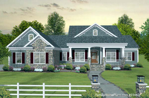 Craftsman style home plans craftsman style house plans for Single story house plans with front porch