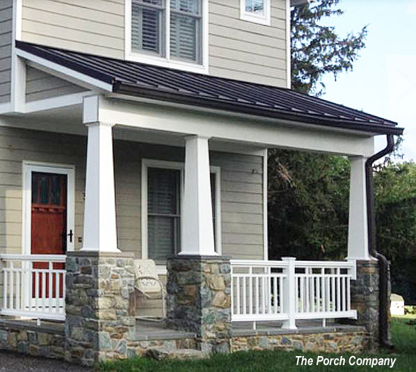 vinyl porch railings with craftsman design on two story home's front porch