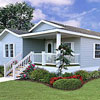 mobile home with shutters and landscaping