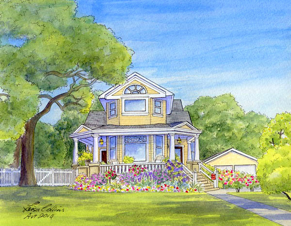 Watercolor house portrait by artist Leisa Collins