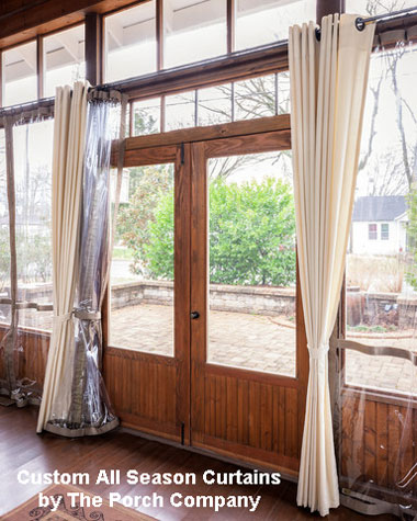 all weather curtains on screened porch