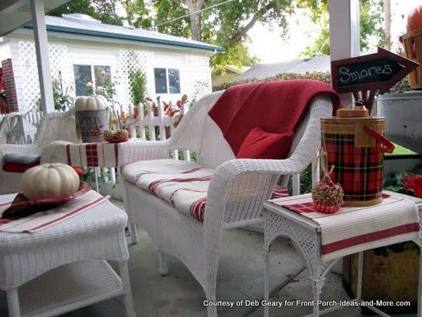 Deb G's autumn back porch has a fresh vintage look - shown on Front Porch Ideas and More