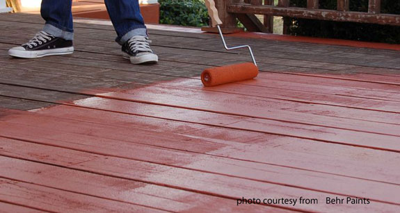 outdoor deck paint or stain. deck being coated with behr deckover paint outdoor or stain