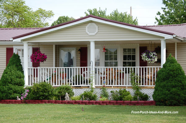 mobile home porch with front porch and white railings - Exterior Mobile Home Improvements For Appeal And Value