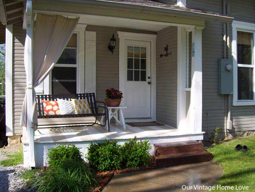 full shot of side porch with glider - Porch Ideas