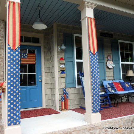 burlap patriotic banners on front porch