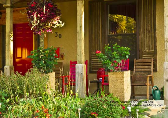Lovely touches of red on this porch