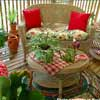 decorating with red really pops on this porch