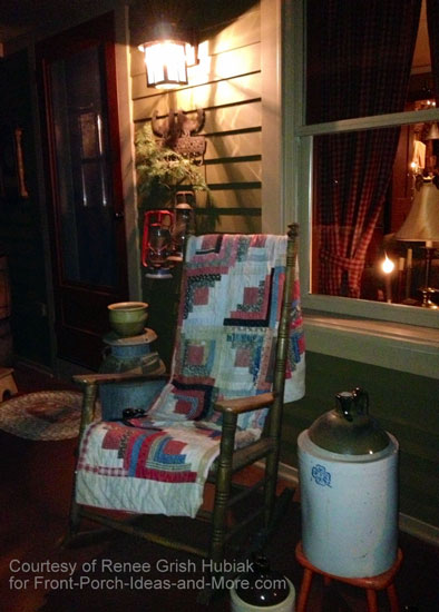 Renee decorates with red using quilts, lantern