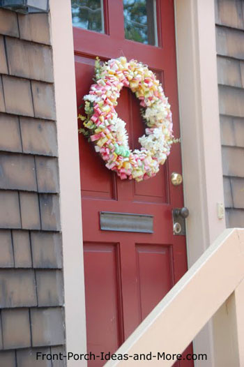 colorful candy wrapper front door wreath