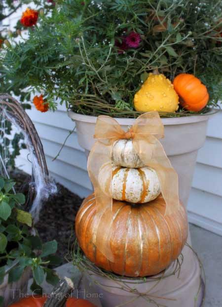 gilded pumpkins on pots