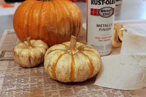 gold spray paint for pumpkins