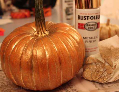pumpkin spray painted gold