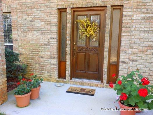 forsythia wreath on front door