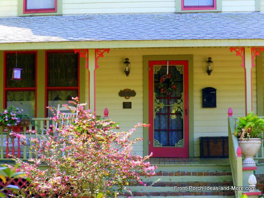 vintage front porch with column brackets
