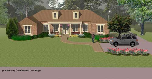Three-Dimensional Rendering showing ranch remodel and landscaping